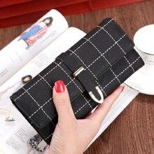Купить с кэшбэком 2018 New Fashion Women Wallets Long with Plaid PU Leather Hasp Coin Purse Phone Bag Card Holders Female Three Fold Wallet