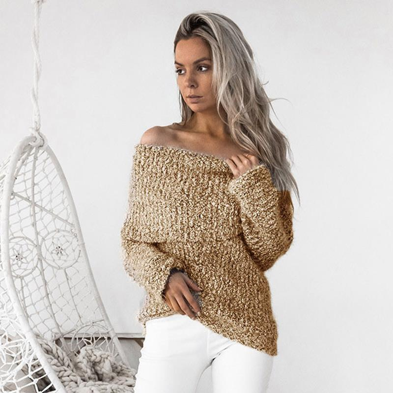 Winter Clothing 2017 Women Sweaters Sexy Off Shoulder Jumper Slash Neck Long Sleeve Knitted Pullovers WS1577C