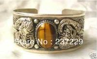 Wholesale price FREE SHIPPING ^^^^Vintage Dragon Carved Tiger Eye Opal Stone Tibet Silver Bangle Bracelet Jewelry