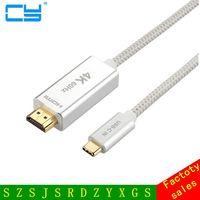 Pleciony 4 K * 2 K 3D 60Hz STOPY 6FT 10FT USB 3.1 Typu c USB-C mężczyzna Kabel hdmi do HDMI męski adapter HD Przysposabiającego USB Typu C 1 M 2 M 3 M