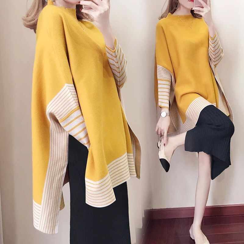 Maternity Clothes Sweater Women Loose Large Size Sweater Bat Shirt High Collar Shawl Thickening Autumn Winter Fashion Maternity