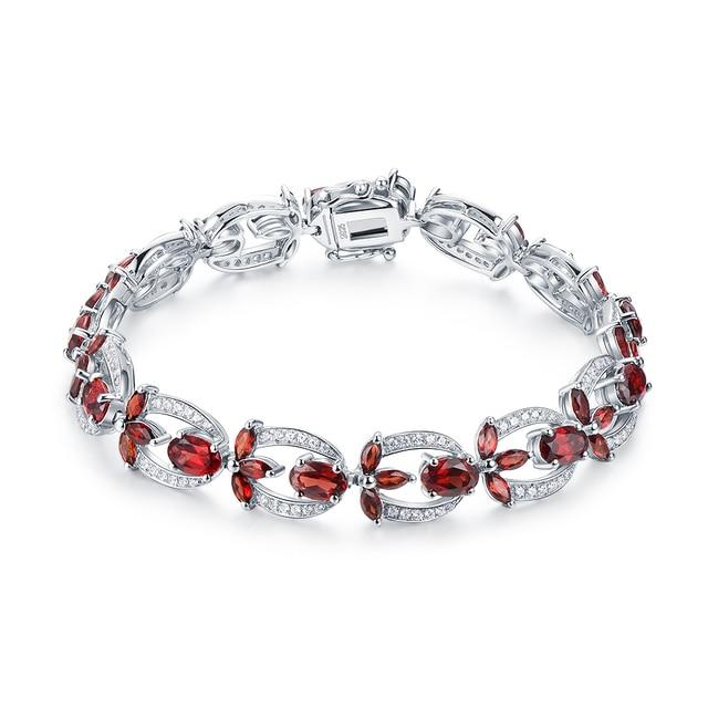 Blossoms 9.50ct Natural Red Garnet Sterling Silver Spring Flower Bracelet