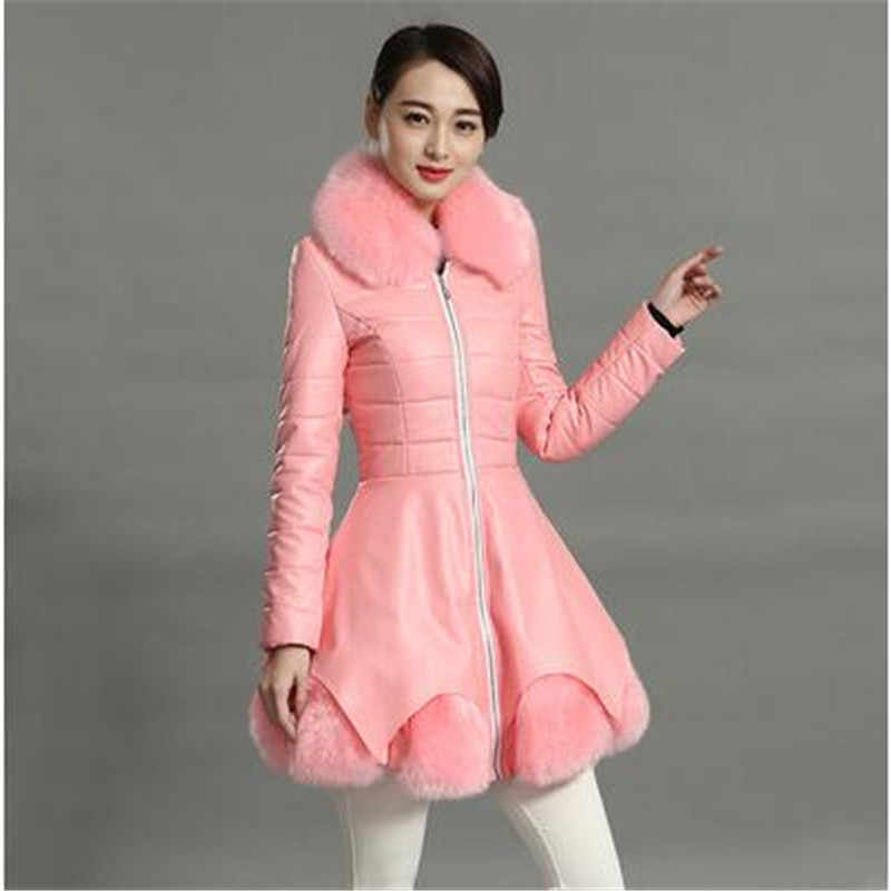 Women clothing Temperament Winter jacket coat Leather Cotton coat Han edition Fur collar Large size PU Leather clothes coat 723