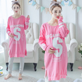 Women Cotton Pajamas Autumn and Winter long Section of Pregnant Women Maternity Pajamas