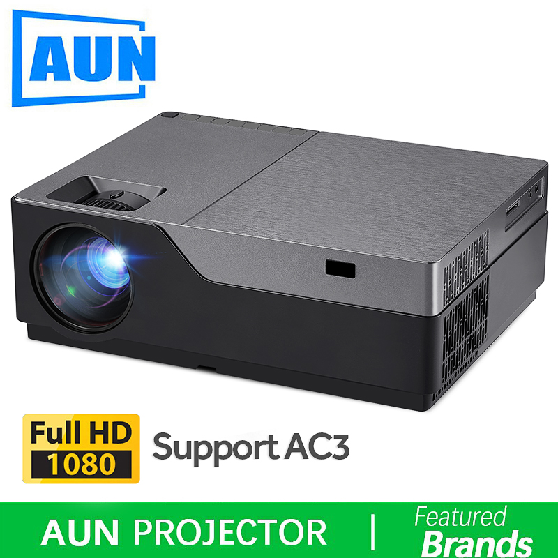 AUN Projetor Full HD, 300 polegada de Home Theater, 1920x1080P Projetor LED. Apoio AC3. 5500 Lumens. (Opcional Android WIFI M18UP)