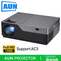 AUN Full HD Projector, 300 inch Home Theater, 1920x1080P LED Projector. Support AC3. 5500 Lumens. (Optional Android WIFI M18UP)