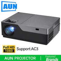 Proyector Full HD de AUN, Cine en Casa de 300 pulgadas, proyector LED de 1920x1080 P. Apoyo AC3. ¡5500 lúmenes! (Opcional Android WIFI M18UP)