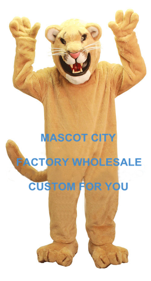 Professional Golden Cougar Mascot Costume Lion Cat Mascotte Mascota Outfit Suit Fancy Dress Party Cosply Costume SW599