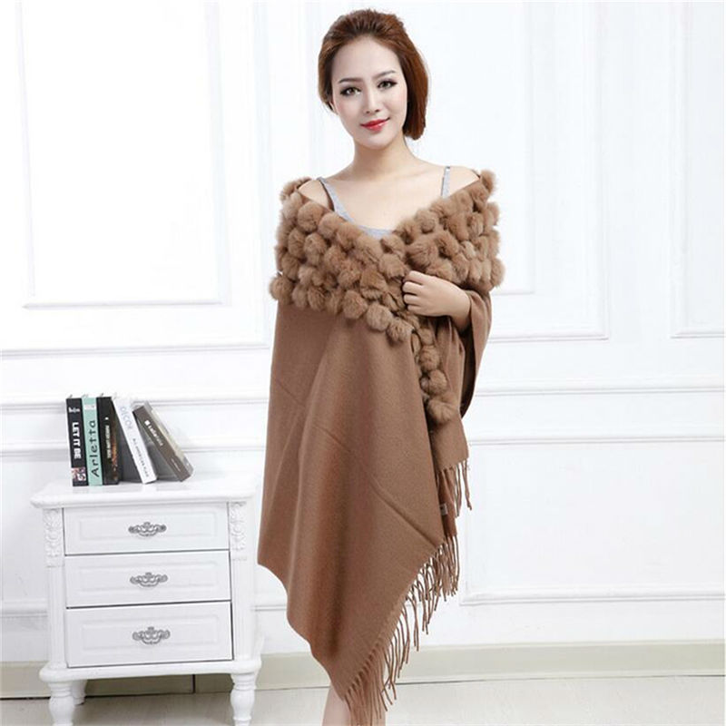 MEEFUR Classic wollen shawls met konijnenbont ballen & kwasten decoratie mode dame effen sjaal wollen poncho LX00019