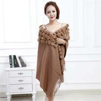 MEEFUR Classic Womens Wool Shawls with Rabbit Fur Balls & Tassels Decoration Fashion Lady Solid Scarf Wool Poncho LX00019