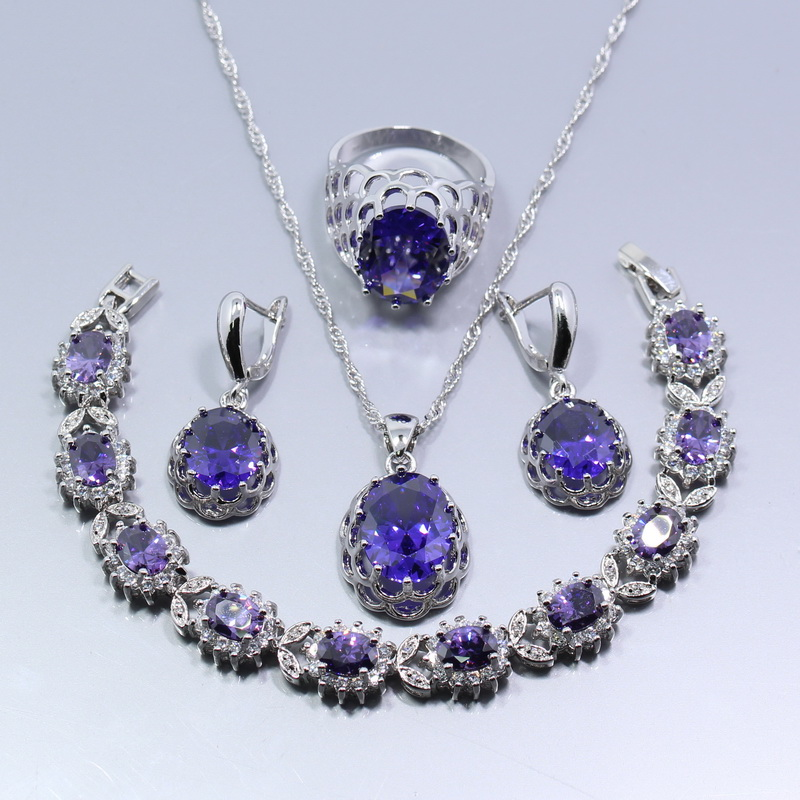 charming 4pcs 925 sterling silver wedding jewelry set