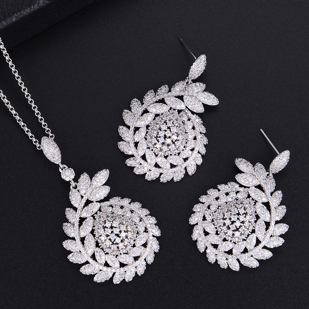 JIMBORA Luxury Olive Branch Pendant Necklace Earring Sets Jewelry Sets For Dubai Nigerian Women Wedding Engagement 2019JIMBORA Luxury Olive Branch Pendant Necklace Earring Sets Jewelry Sets For Dubai Nigerian Women Wedding Engagement 2019