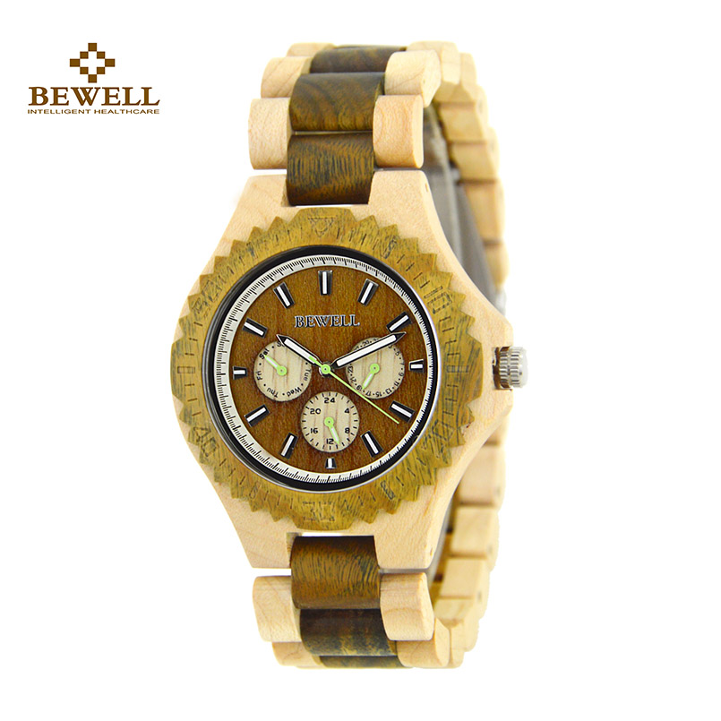 BEWELL Wooden Watches for Male Unique Design Simply Quartz Men Wristwatches with Green Pointer Watch Keep Best Time Gift 116B 2017 men gift enmex brief design gentlemancreative geometric designs floating pointer 3d dail with young fashion quartz watches