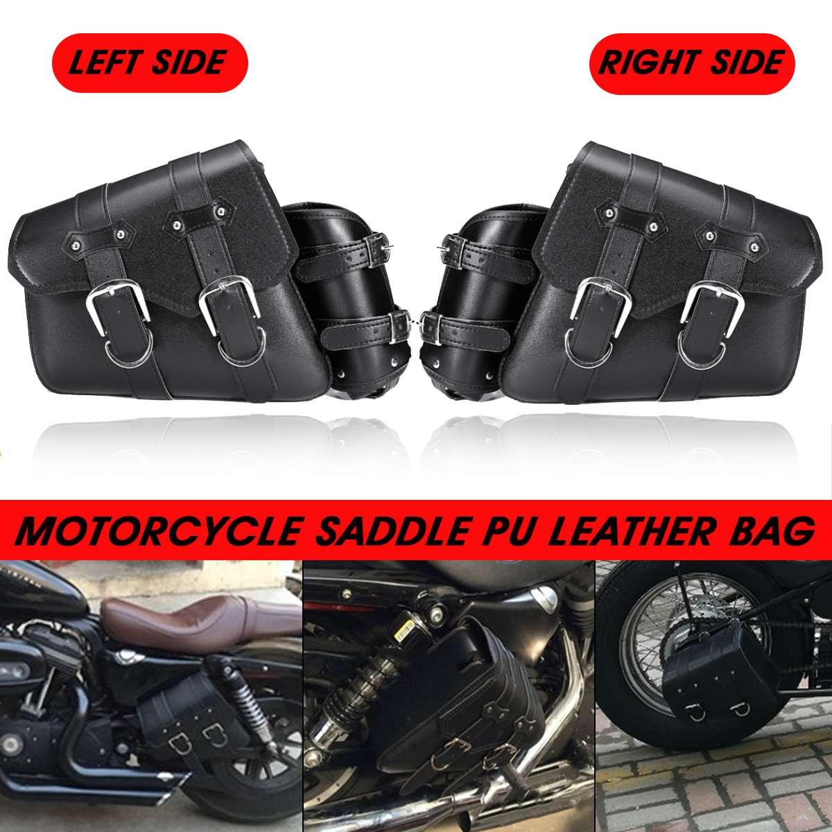 Universal PU Leather Motorcycle Saddle Bag Moto Bike Luggage Storage Saddlebags For Harley/Honda/Yamaha/Suzuki