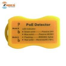 พ็อกเก็ตขนาด PoE เครื่องตรวจจับเครื่องทดสอบ PoE ระบุประเภท PoE; จอแสดงผล LED แสดง passivePoE/802.3af/at; 24 โวลต์/48 โวลต์/56 โวลต์