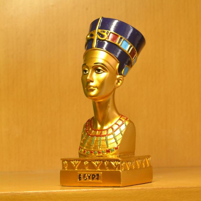 Ancient Egyptian Queen Neferneferuaten Nefertiti Resin Figurine High Quality Toy Small Size Hand-painting Home Decoration Model