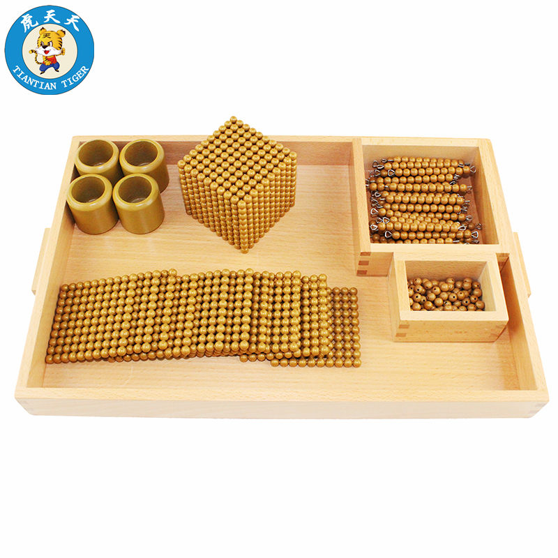 Montessori Baby Toys Early Education Teaching Aids Preschool Training Golden Beads Game new wooden montessori family version brown stair width 0 7 cm to 7 cm early childhood education preschool training baby gifts