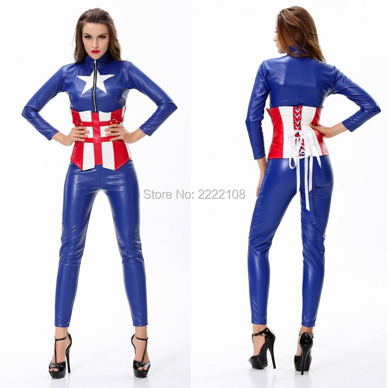 <font><b>2018</b></font> <font><b>Sexy</b></font> <font><b>Costume</b></font> Adult Superheroes <font><b>Sexy</b></font> Women Halloween Captain America <font><b>Costume</b></font> Super Heroes Bodysuits Avengers Cosplay Clothes image