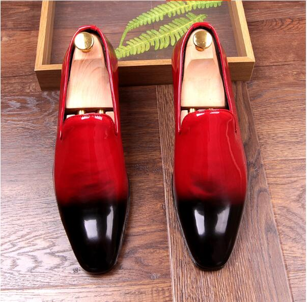 где купить Mixcolor Red Black Loafers Shoes Mens Flats Handmade Patent leather Driving Casual Shoes New 2018 Fashion Hot Mens Wedding Shoes по лучшей цене