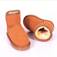 2017 New Fashion Children Shoes Genuine Leather Toddler Boys Fur Boot Baby Snow Boots Classic Winter Kids Ankle Boots For Girls