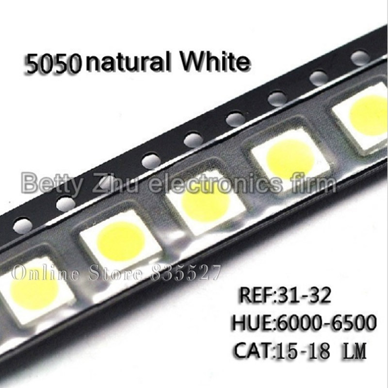 100PCS/LOT 5050 White SMD LED Bright Nature White Light-emitting Diodes 15-18LM 6000-6500K