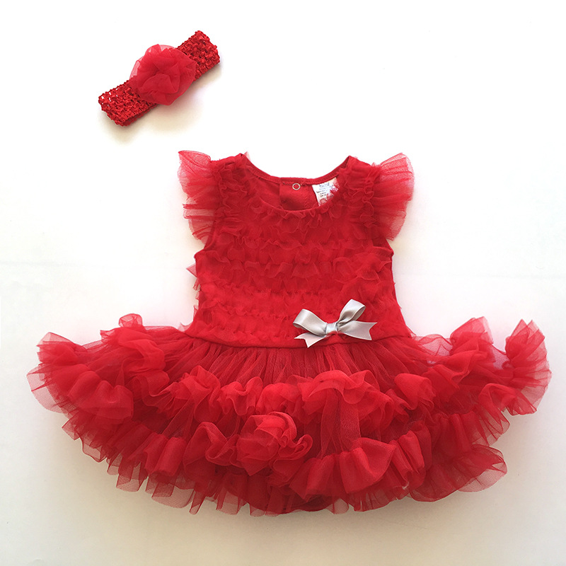 2 Pcs/Set Newborn Baby Clothing Baby Gril Clothes 3D lace rose tutu Princess Dress Rompers+Headband Kids Gifts