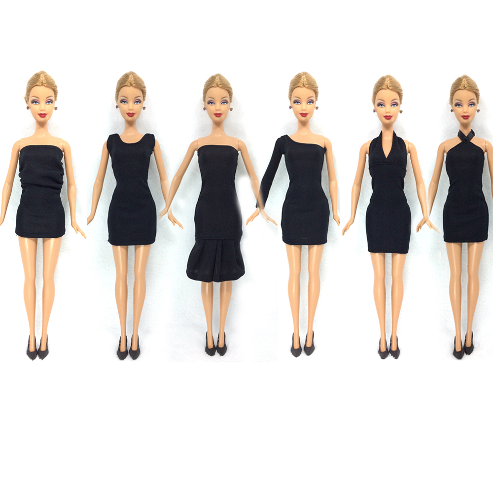 NK 12 Items=6 Black Dresses+6 Black Heels Doll Fashion Clothes Handmade Outfit For Barbie Doll Best Gift For Child