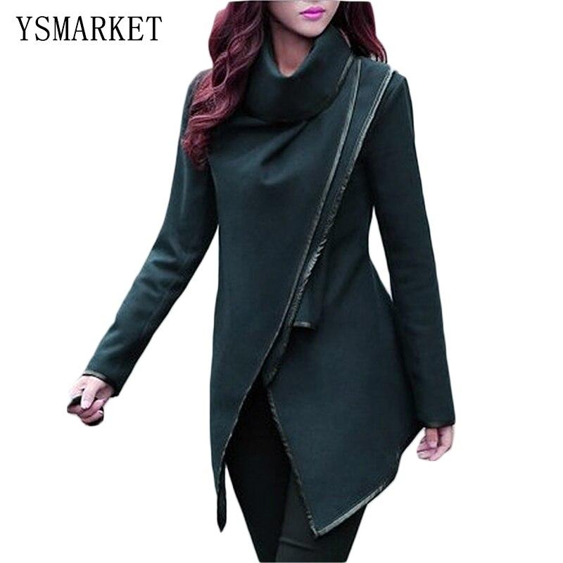 Podzim Zima Novinka Plus velikosti XL 2XL 3XL 4XL Slim Vlněné kabáty Ženy Šátek límec Nepravidelné Dlouhé bundy Dlouhý rukáv E1231
