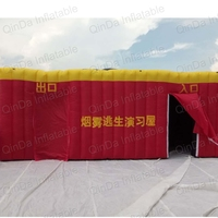 Children fire education tunnel imitation room inflatable fire tent , simulated smoke room escape tent