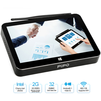 Pipo X11 Мини ПК четырехъядерный процессор Intel Cherry Trail Z8350 2 GB/32 GB двойной ОС Android Windows 10 смарт-ТВ-приемник с WiFi LAN HD Media Player Декодер каналов кабельного телевидения