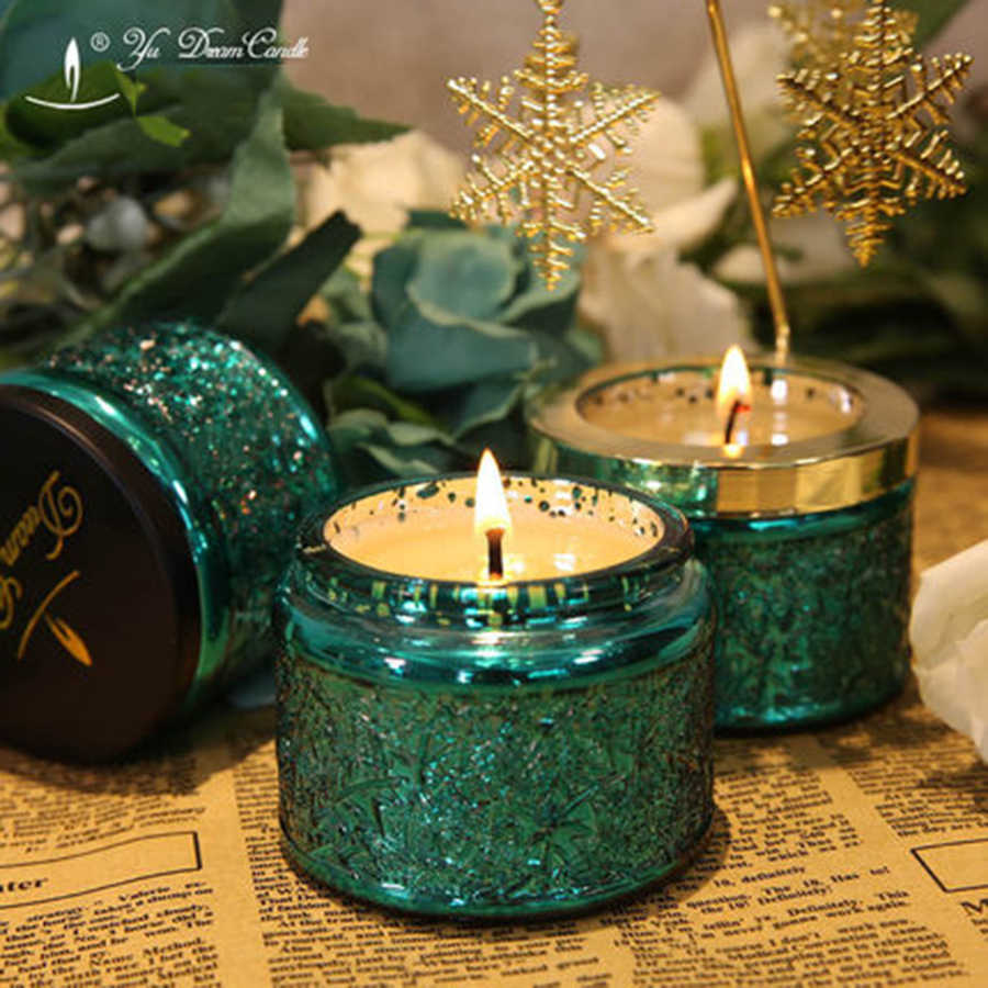 Soy Wax Natural Candle Green Scented Wax Wedding Candles Happy Birthday Candle Jars Mariage d Coration Decorative Candles 50K369