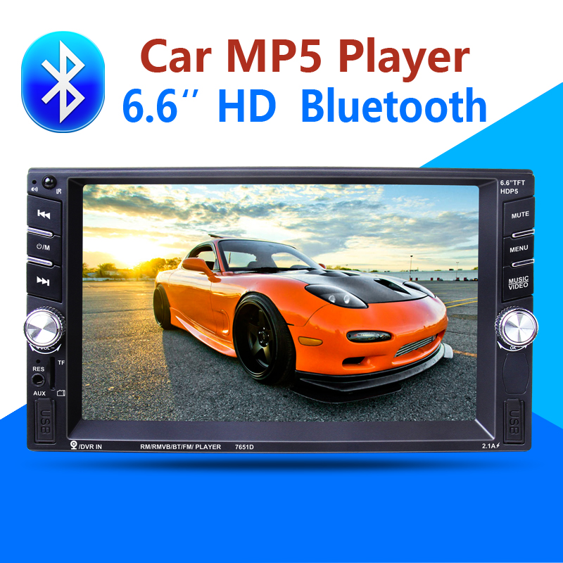 imágenes para 2 Din Car Multimedia Player Bluetooth AUX Estéreo de Radio FM MP3 MP5 Audio Video USB Cargador Electrónica autoradio de dirección-rueda