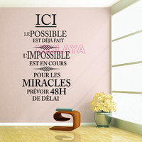 Stickers French Citation L Impossible Est En Cours Vinyl Wall Sticker Decals Art Wallpaper For Living