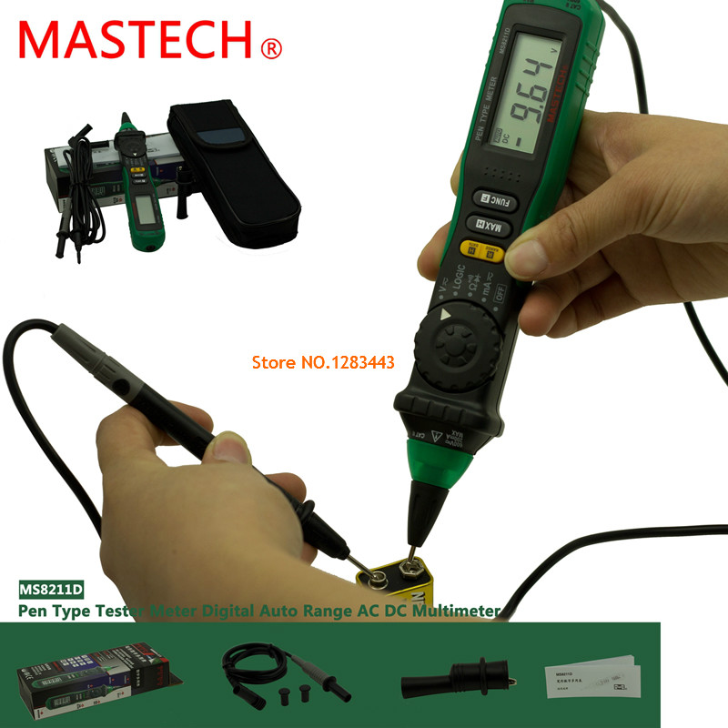 MASTECH MS8211DS Auto Range Digital Multimeter Pen-Type Meter DMM Multitester Voltage Current Tester Logic Level Tester mastech ms8211d pen type digital multimeter manual auto range