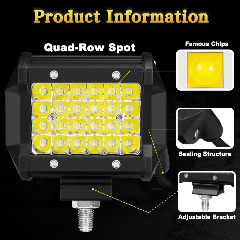72W LED Work Light Bar Flood Fog Lamp Offroad SUV 4WD Car Jeep for Philips UK