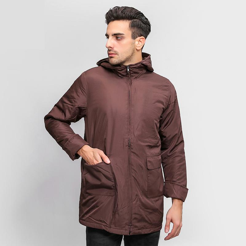 New Men's Casual Slim Long Hooded Ultra Light Thin Spring Autumn Warm   Trench   Coat For Men Autumn,Brown,Size M-XXL,AW18-003A