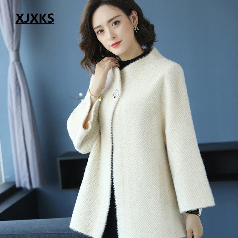 XJXKS Fashion Winter 2018 new loose large size cloak type outer wear women casacos design elegant simple woman wool coat