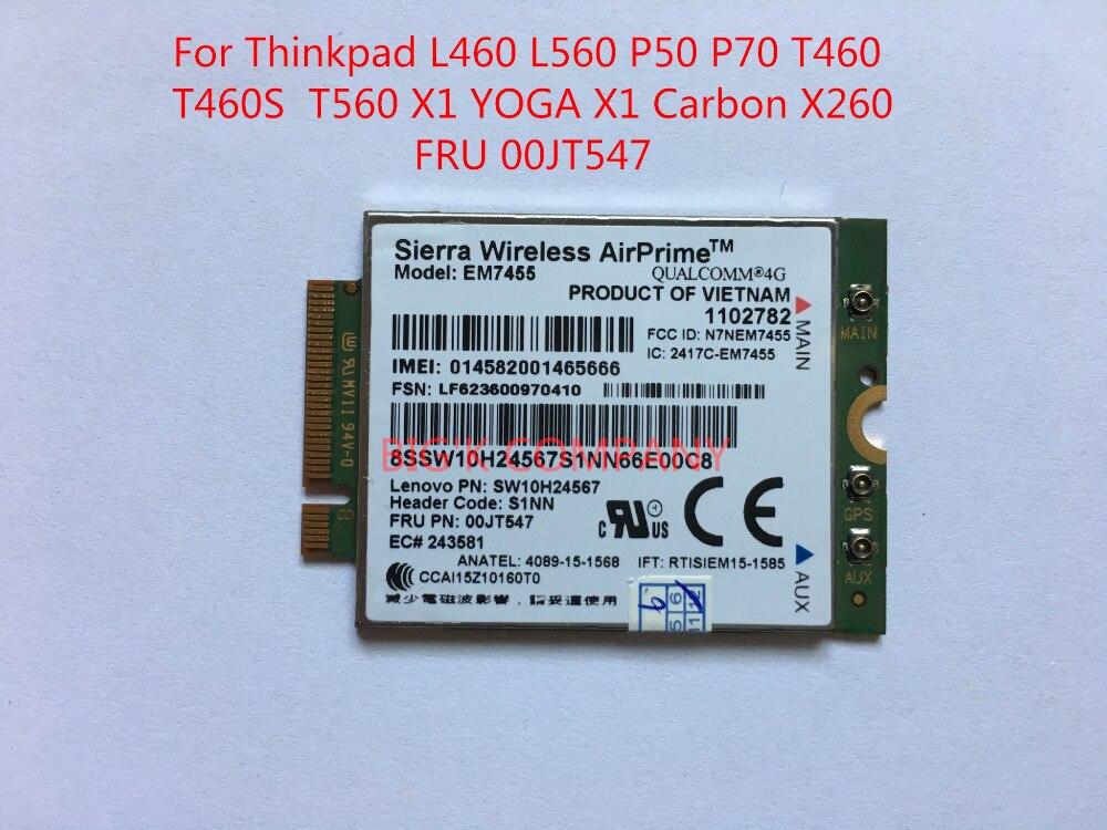 EM7455 New FRU 00JT547 Sierra LTE CAT6 for Thinkpad L460 L560 P50 P70 T460 T460S T560 X1 YOGA X1 Carbon X260