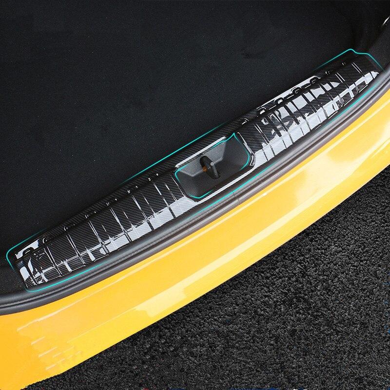 Arrière de voiture pare-chocs arrière coffre intérieur extérieur seuil plaque protecteur garde revêtement d'habillage autocollant pour Mini Cooper F55 F56 F54 R60