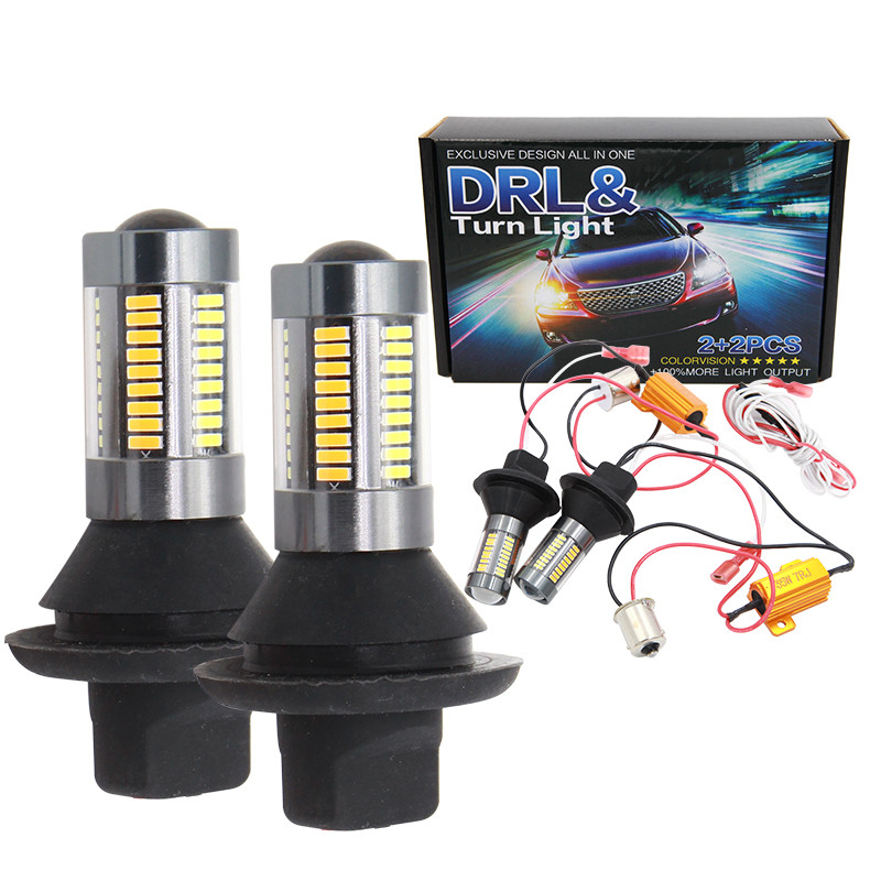 Auto 1156 BAU15S BA15S LED P21W T25 3156 T20 7440 4014 66SMD DRL white turn yellow Bulb Turn Signal Light Canbus with Resistor pair canbus 1156 ba15s p21w t20 7440 p13w t15 w21w 80w w philips chips backup reverse light front drl daytime running lamp