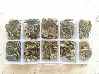 Little Charms 130Pcs Set Mix 10 Styles Vintage Bronze Jewelry Beads Pendants Charms Findings Accessories