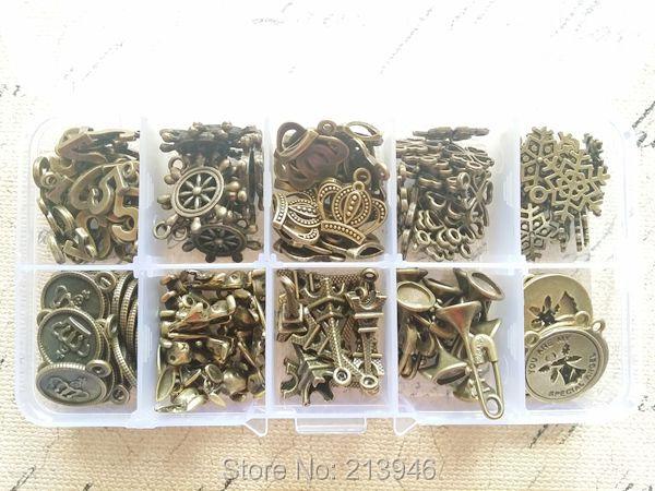 ( pequeños encantos ) 130 unids/set Mix 10 estilos joyas de bronce de época granos de los colgantes encanta resultados y accesorios