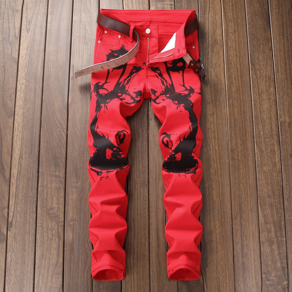 New 2018 printed trousers mens self-cultivation youth long pants fashion pants night clubs pants 5612