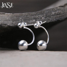 JINSE 8mm Round Ball Stud Earring for Women S925 Pure Silver Bead Earring Unisex High Quality Fashion Jewelry