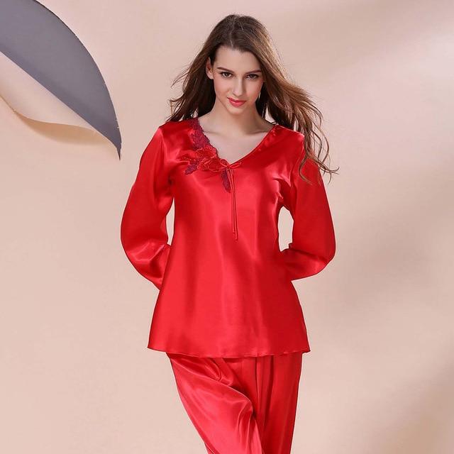 Womens Silk Pajamas Sets Spring Summer Female Lace Nightgown Embroidered Satin Pyjamas Sleepwear Loungewear L XL XXL