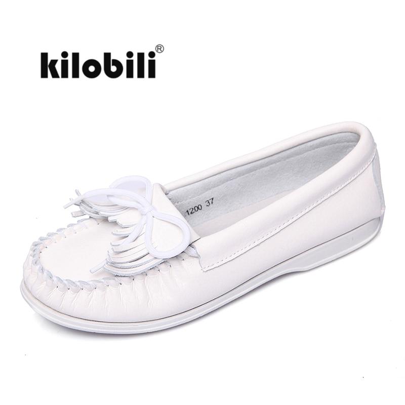 Kilobili mujeres flecos mocasines zapatos planos slip on driver loafer blanco moccains casual suave