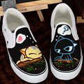 Large Size 43 Women White Sneakers Design Canvas Shoes 2017 Spring Summer Slip on Flats Woman Creeper Platform Cartoon Cat Mouse