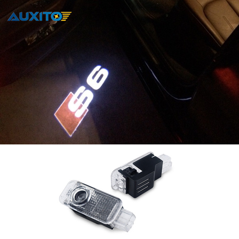 2x Car LED Door Warning Light For Audi Logo Projector For Audi A6 C4 C5 C6 4F C7 S6 RS6 RS A6L Allroad S line Quattro