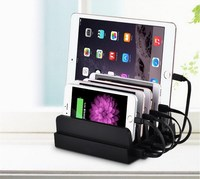 6 USB Ports With Cables Mobile Phone Charger Travel Charging Station Dock Stand Holder Universal for Smart cell phone Tablet