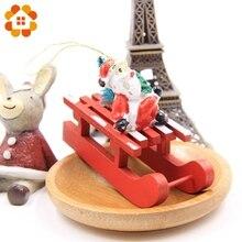 3PCS/lot Wooden Sled DIY Creative Christmas Series Pendants Decoration Wood Crafts Christmas Ornaments
